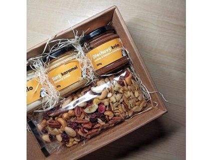 Dárkový balíček ořechových másel a mixu oříšků